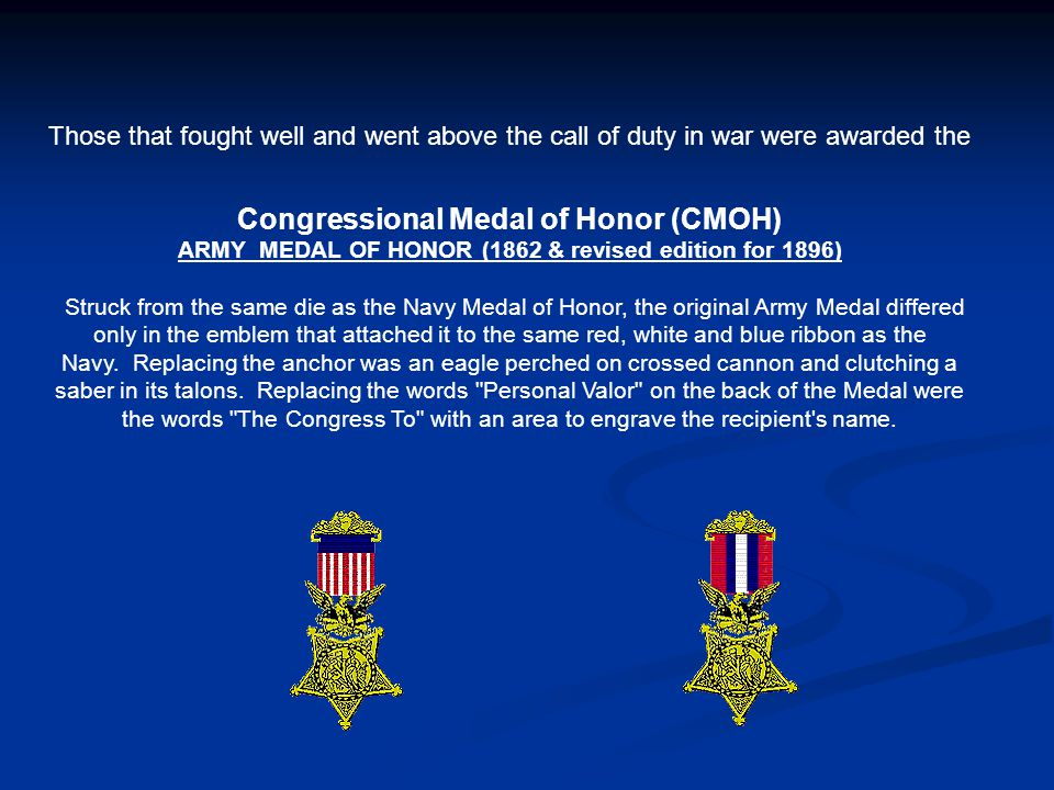 ARMY MEDAL OF HONOR (1862 & revised edition for 1896)
