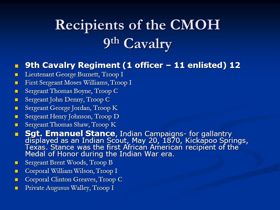 Recipients of the CMOH 9th Cavalry
