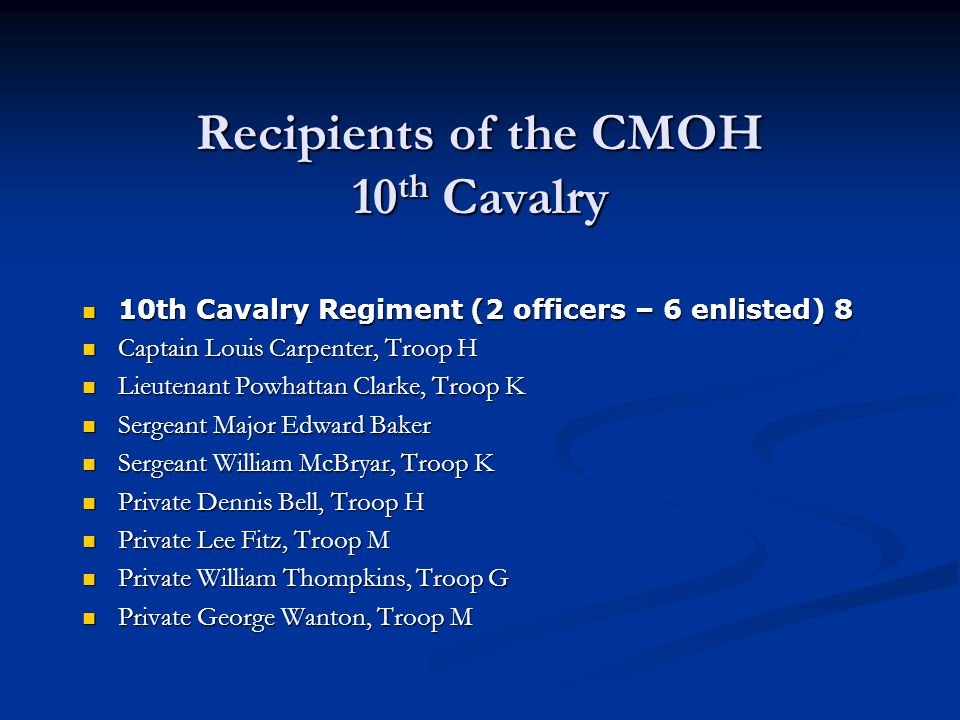Recipients of the CMOH 10th Cavalry