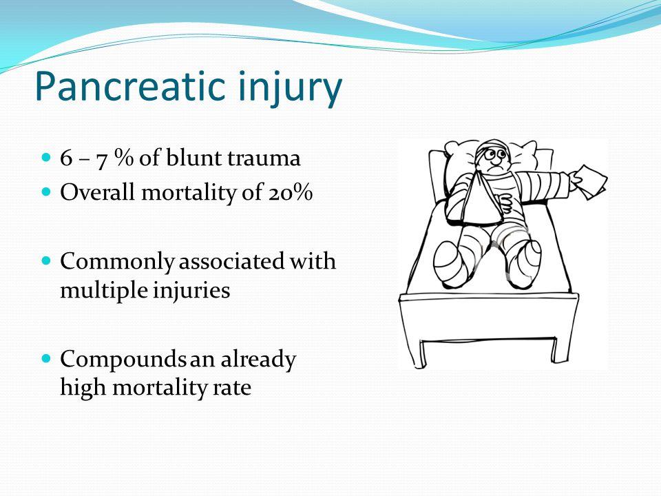 Pancreatic injury 6 – 7 % of blunt trauma Overall mortality of 20%