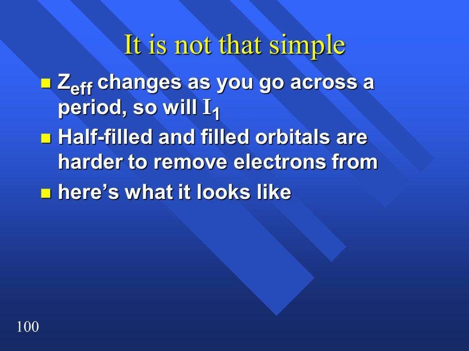 It is not that simple Zeff changes as you go across a period, so will I1. Half-filled and filled orbitals are harder to remove electrons from.
