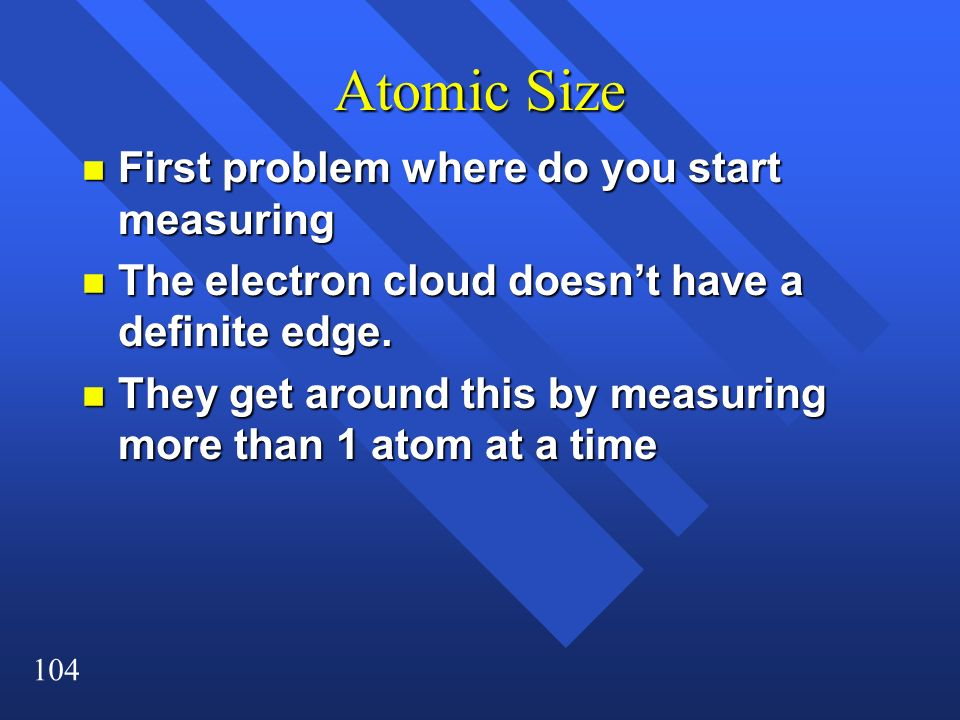 Atomic Size First problem where do you start measuring