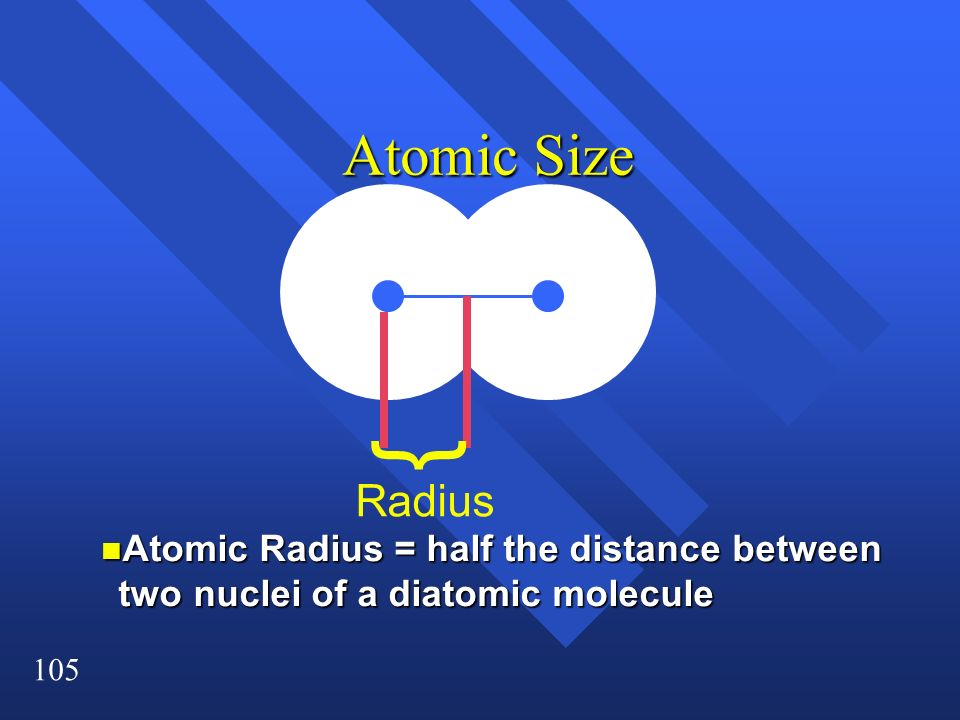 Atomic Size } Radius Atomic Radius = half the distance between two nuclei of a diatomic molecule