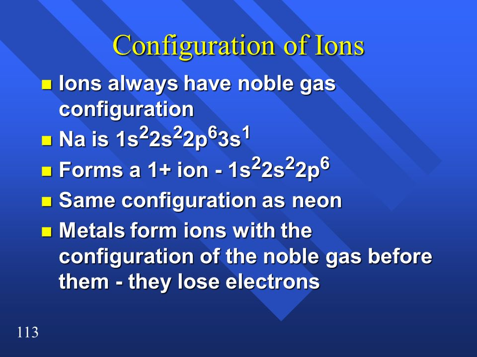 Configuration of Ions Ions always have noble gas configuration