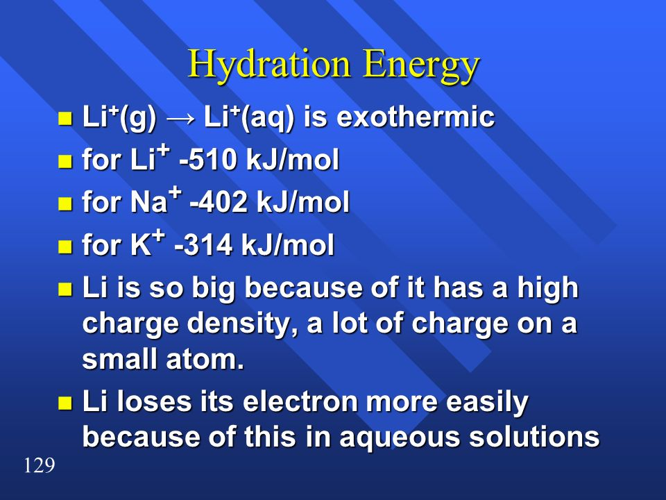 Hydration Energy Li+(g) → Li+(aq) is exothermic for Li+ -510 kJ/mol