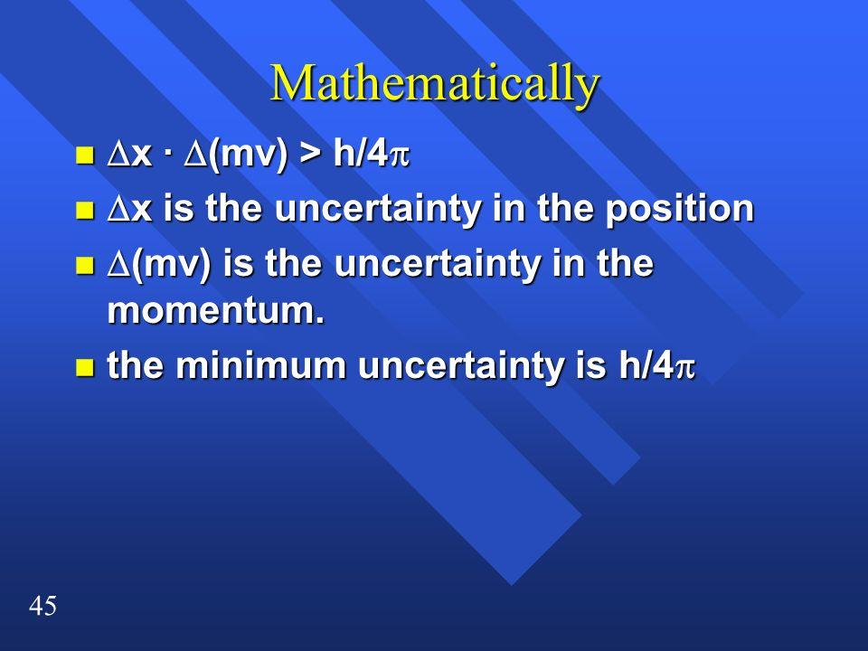 Mathematically Dx · D(mv) > h/4p