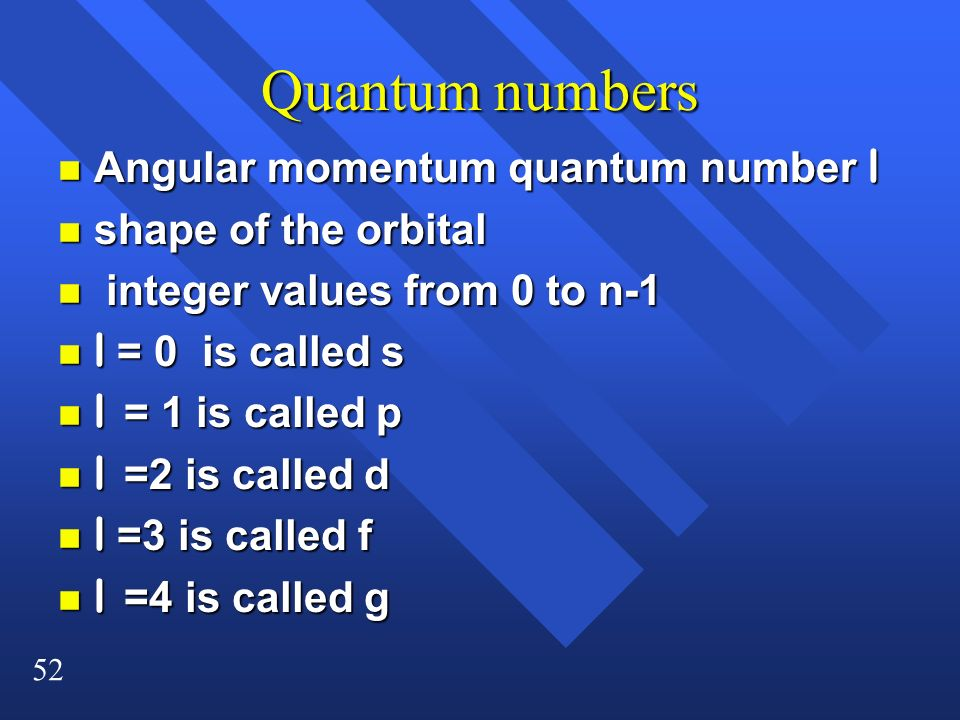 Quantum numbers Angular momentum quantum number l shape of the orbital