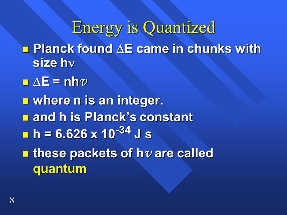 Energy is Quantized Planck found DE came in chunks with size hn