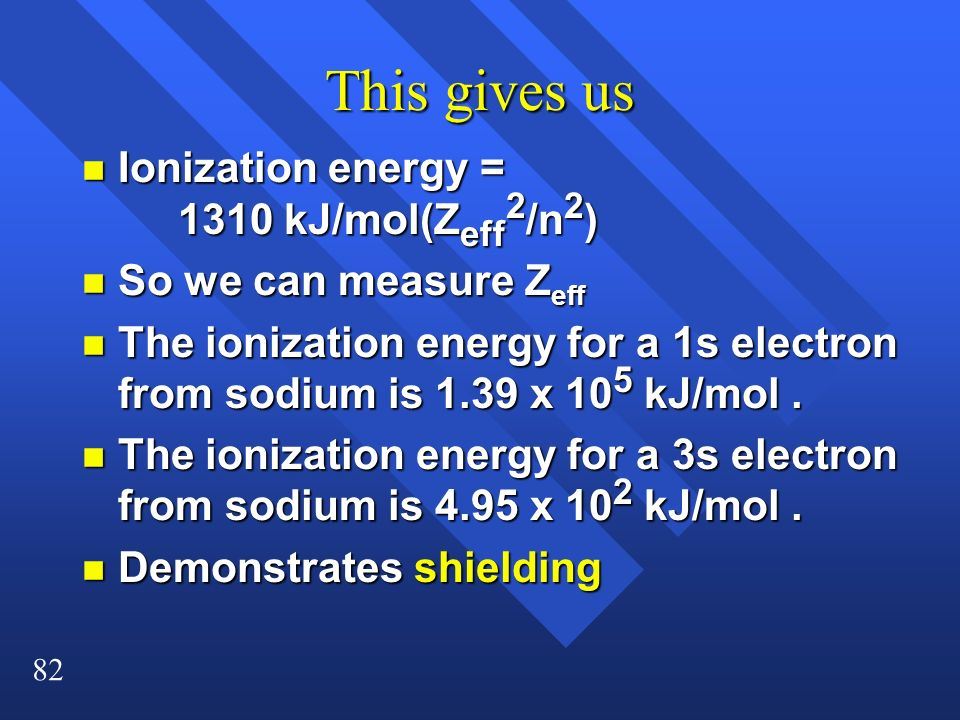 This gives us Ionization energy = 1310 kJ/mol(Zeff2/n2)