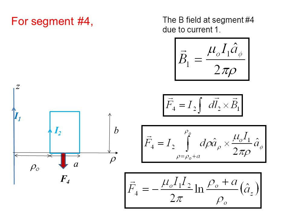 For segment #4, z I1 I2 b r a ro F4