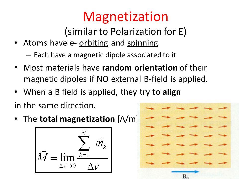 Magnetization (similar to Polarization for E)