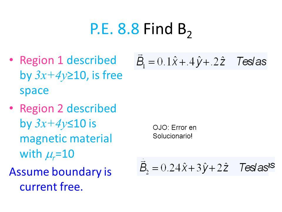 P.E. 8.8 Find B2 Region 1 described by 3x+4y≥10, is free space