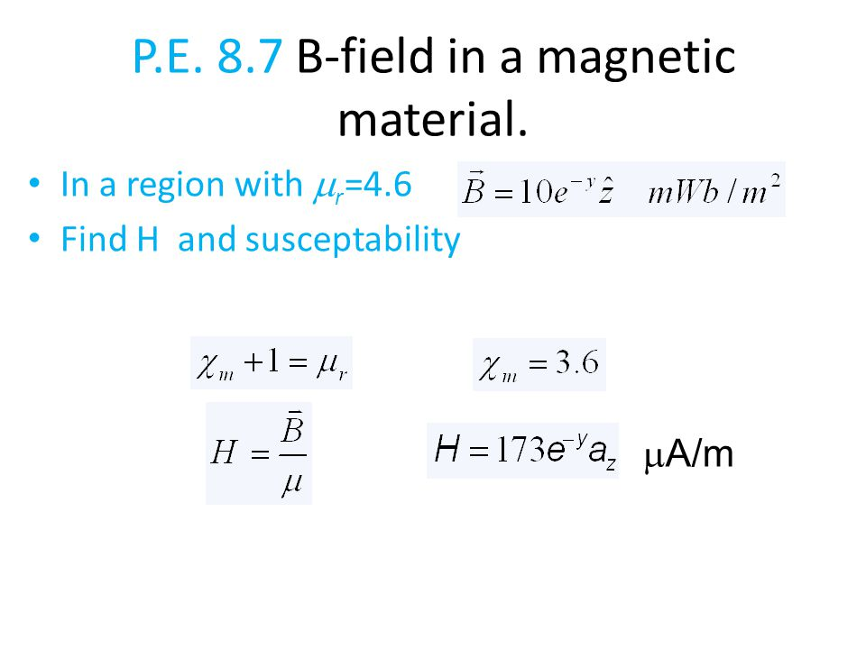 P.E. 8.7 B-field in a magnetic material.