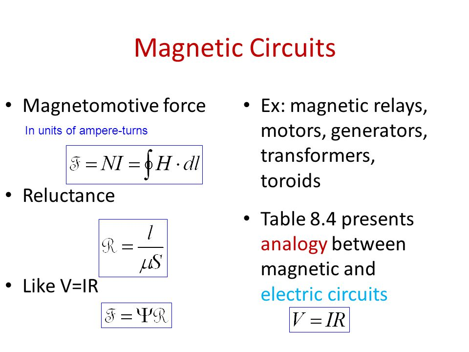 Magnetic Circuits Magnetomotive force Reluctance Like V=IR