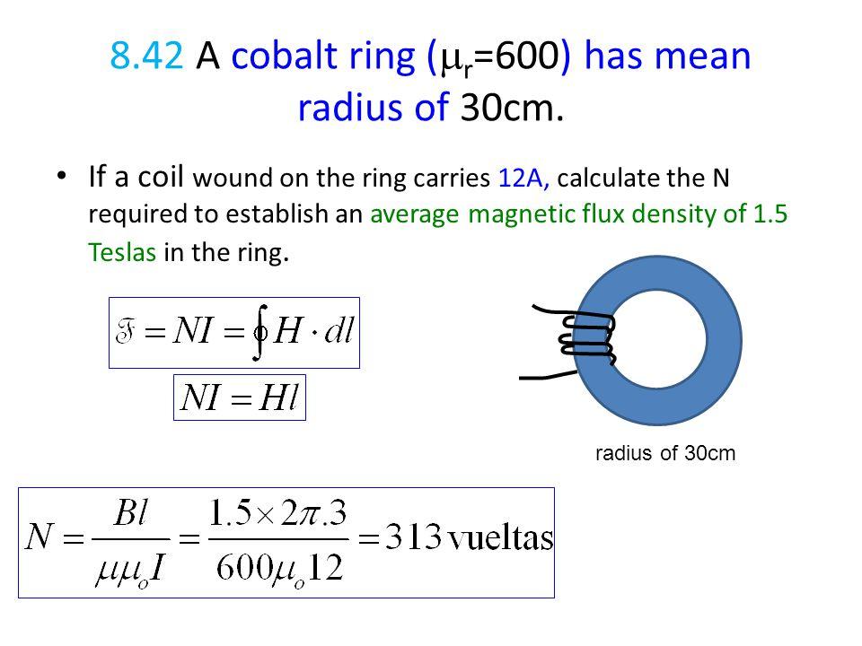 8.42 A cobalt ring (mr=600) has mean radius of 30cm.