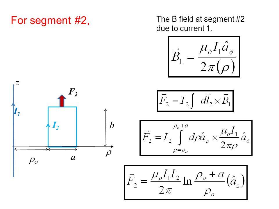 For segment #2, z F2 I1 I2 b r a ro