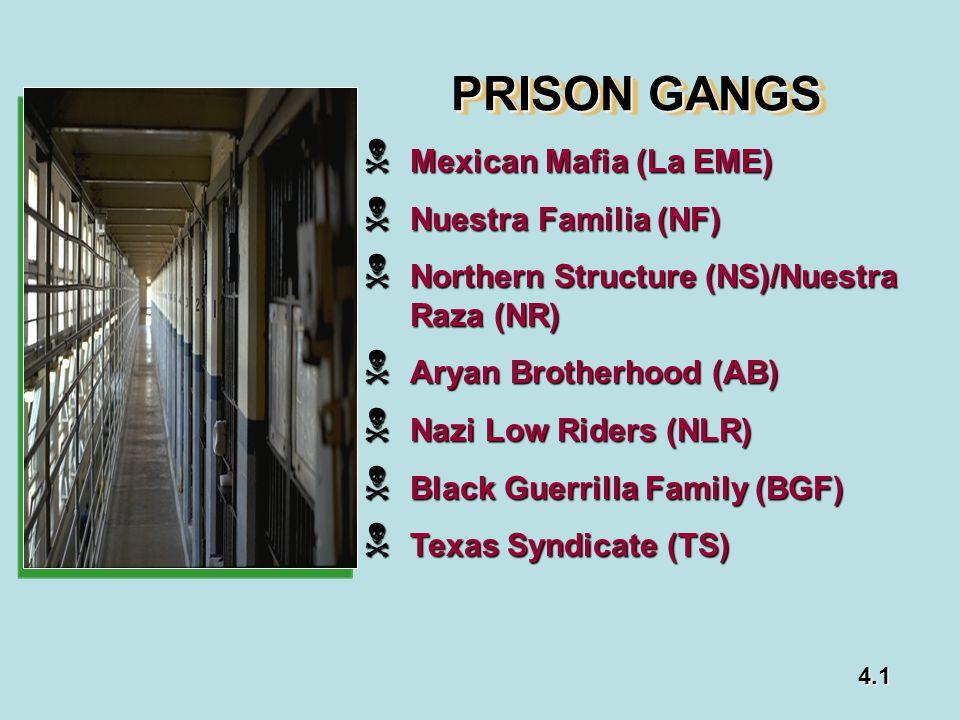 PRISON GANGS Mexican Mafia (La EME) Nuestra Familia (NF)