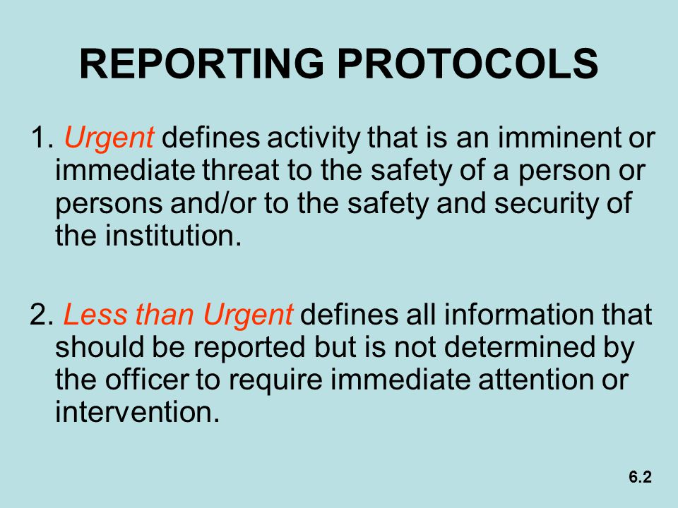 REPORTING PROTOCOLS