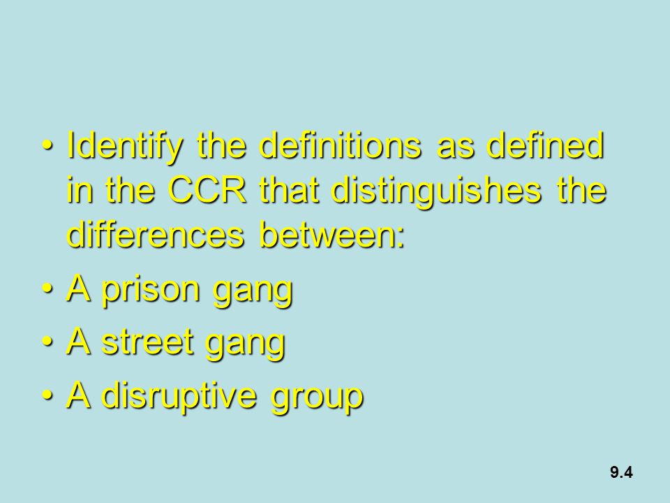 Identify the definitions as defined in the CCR that distinguishes the differences between: