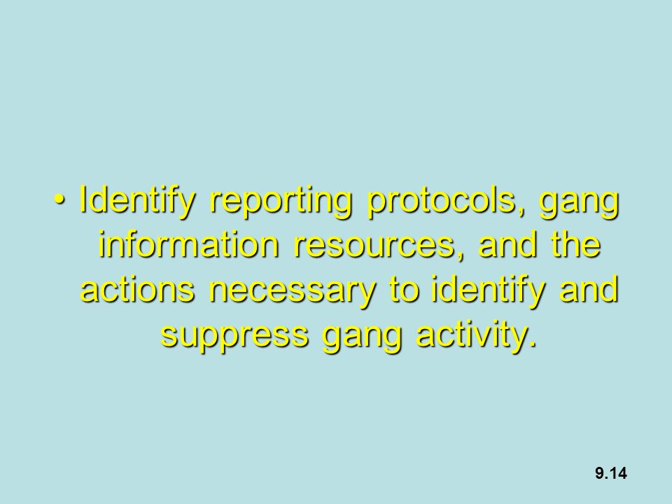 Identify reporting protocols, gang information resources, and the actions necessary to identify and suppress gang activity.