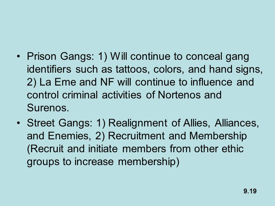 Prison Gangs: 1) Will continue to conceal gang identifiers such as tattoos, colors, and hand signs, 2) La Eme and NF will continue to influence and control criminal activities of Nortenos and Surenos.