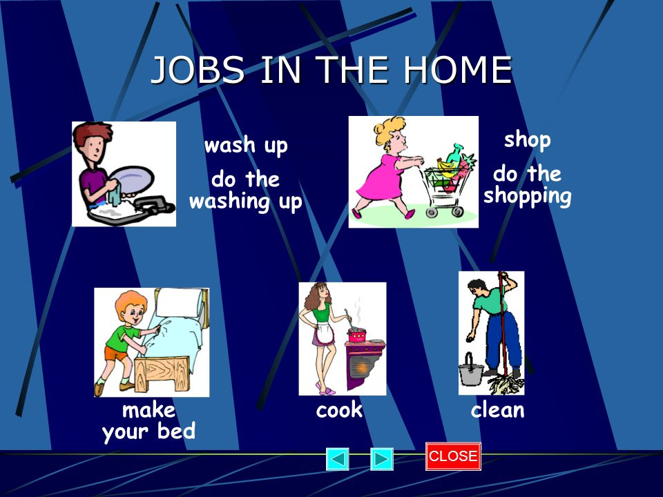 JOBS IN THE HOME shop do the shopping wash up do the washing up