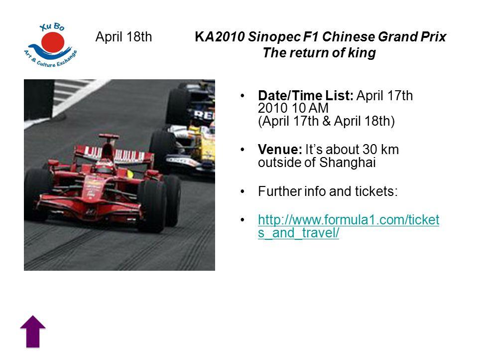April 18th KA2010 Sinopec F1 Chinese Grand Prix The return of king