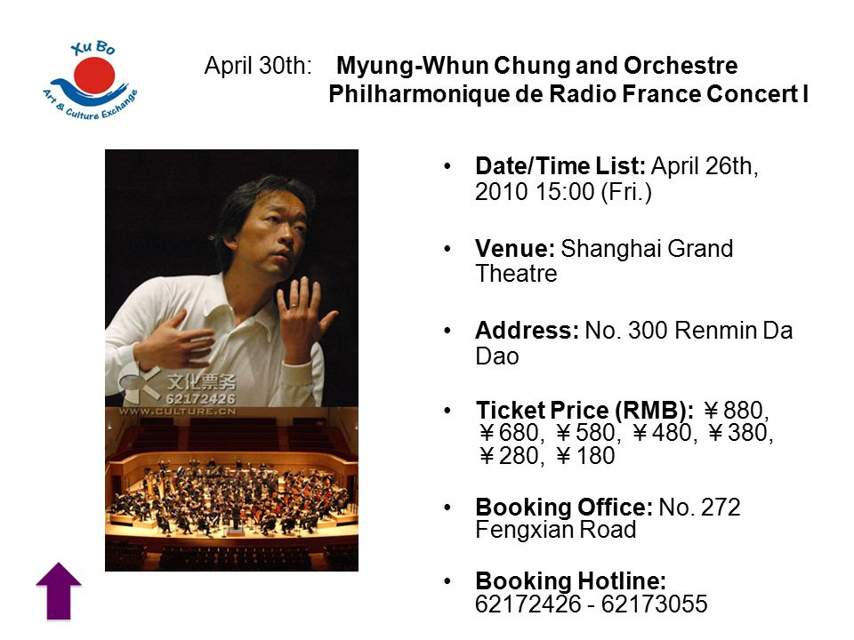 April 30th: Myung-Whun Chung and Orchestre Philharmonique de Radio France Concert I