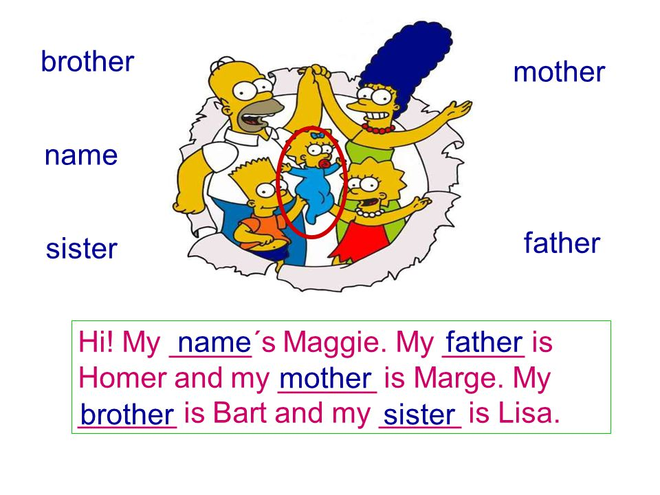 brother mother. name. father. sister. Hi! My _____´s Maggie. My _____ is Homer and my ______ is Marge. My ______ is Bart and my _____ is Lisa.