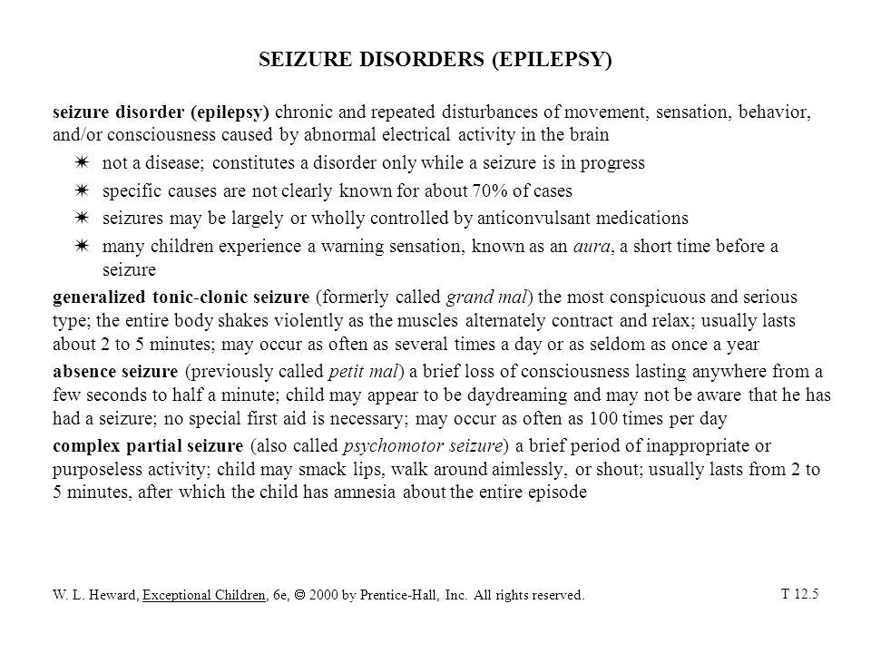 SEIZURE DISORDERS (EPILEPSY)