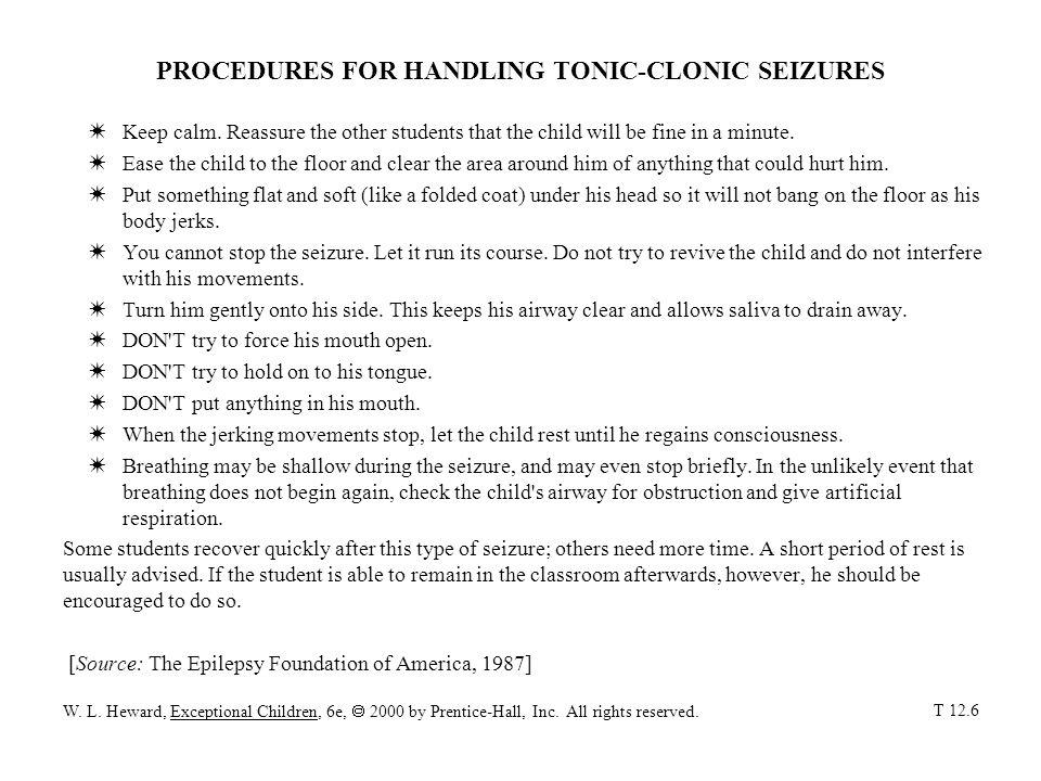 PROCEDURES FOR HANDLING TONIC-CLONIC SEIZURES