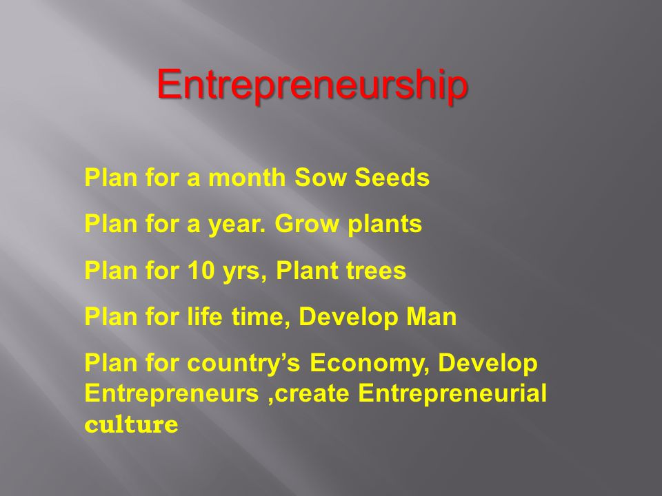 Entrepreneurship Plan for a month Sow Seeds
