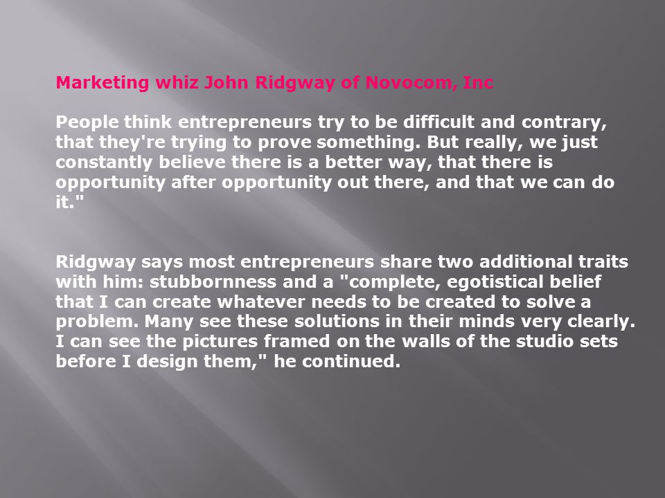 Marketing whiz John Ridgway of Novocom, Inc