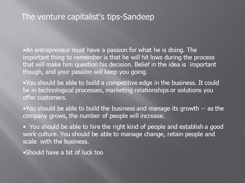 The venture capitalist s tips-Sandeep