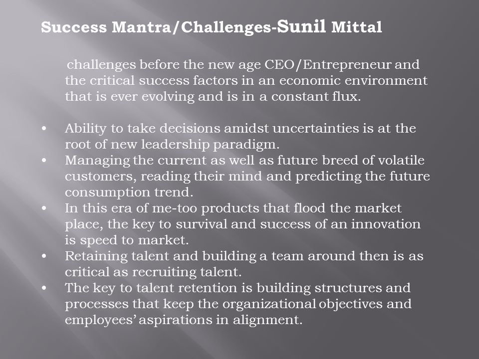 Success Mantra/Challenges-Sunil Mittal
