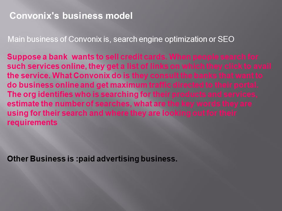 Convonix s business model