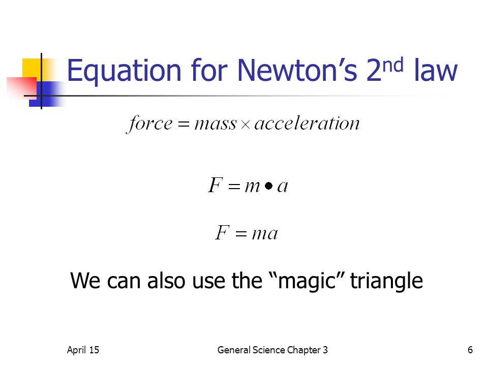 Equation for Newton's 2nd law