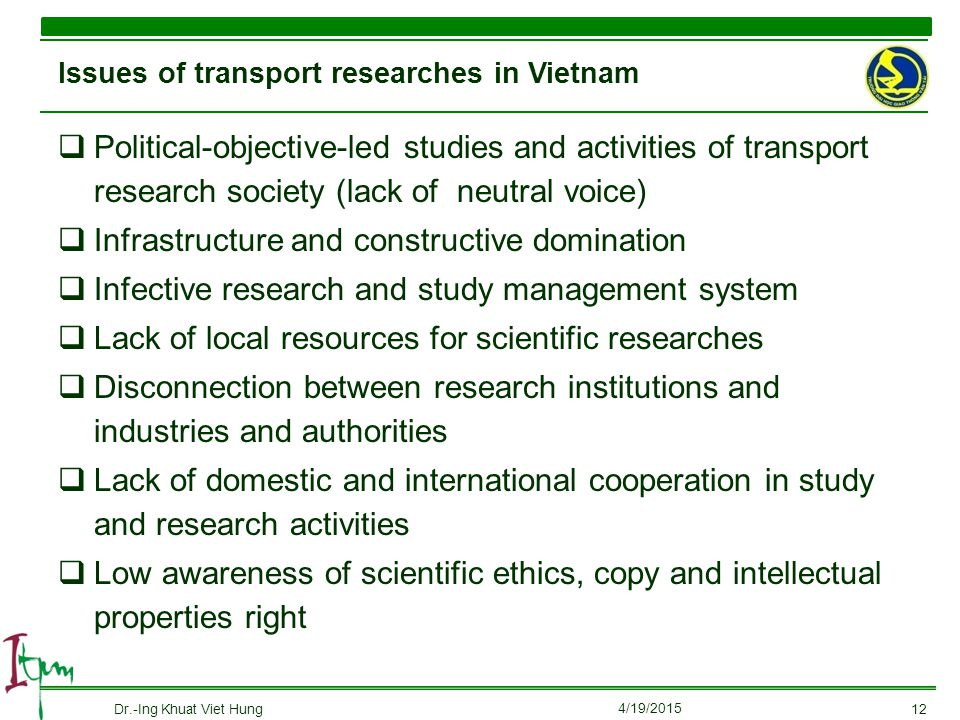 Issues of transport researches in Vietnam