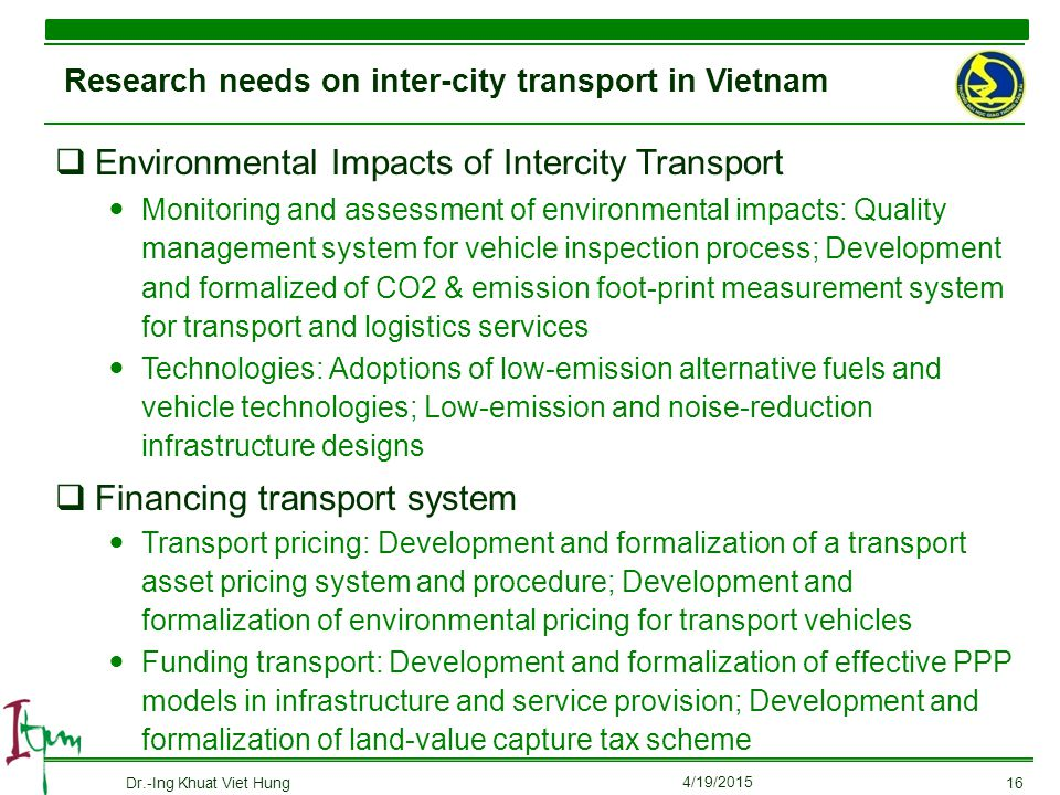 Research needs on inter-city transport in Vietnam