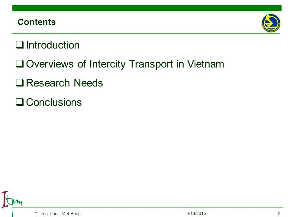 Overviews of Intercity Transport in Vietnam Research Needs Conclusions