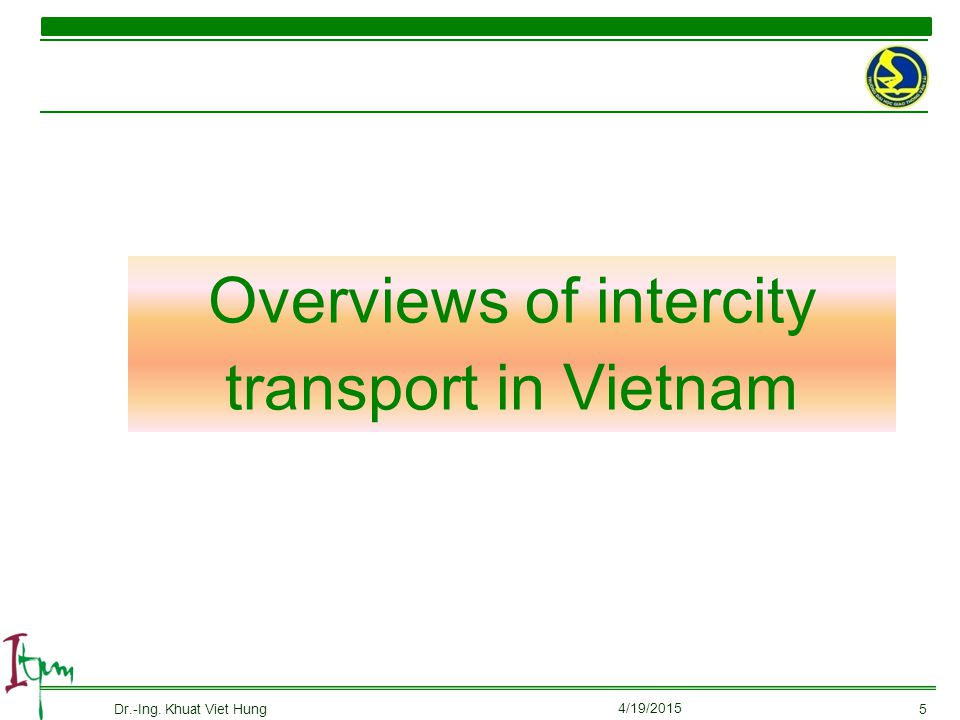 Overviews of intercity transport in Vietnam