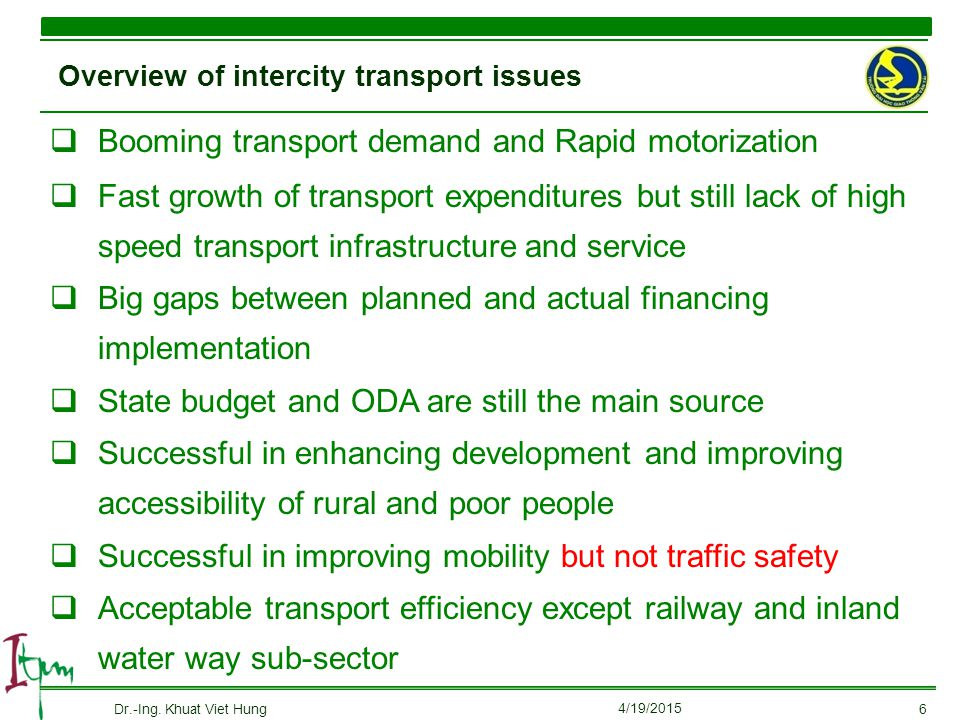 Overview of intercity transport issues