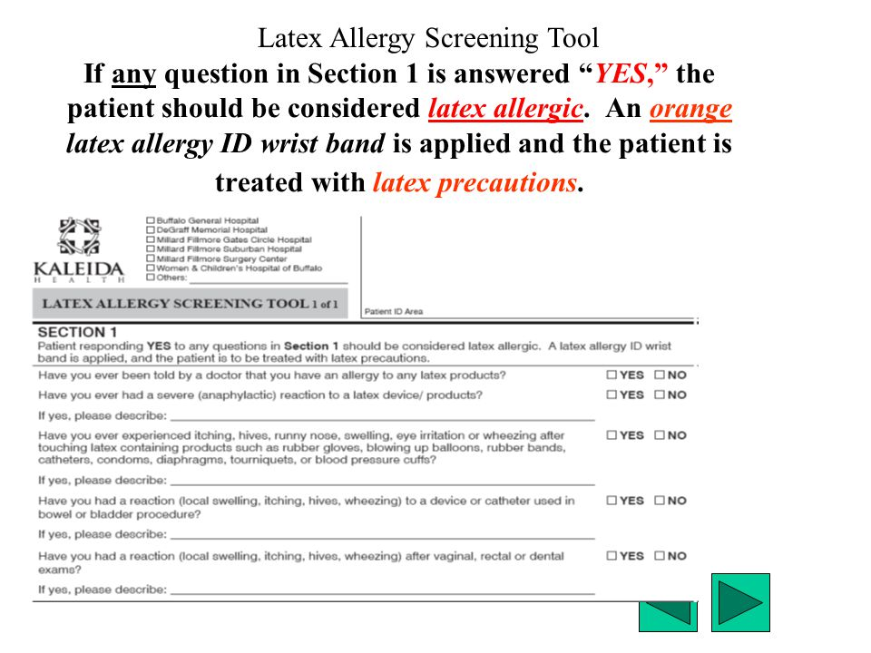 Latex Allergy Screening Tool