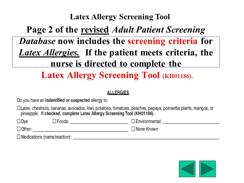 Latex Allergy Screening Tool