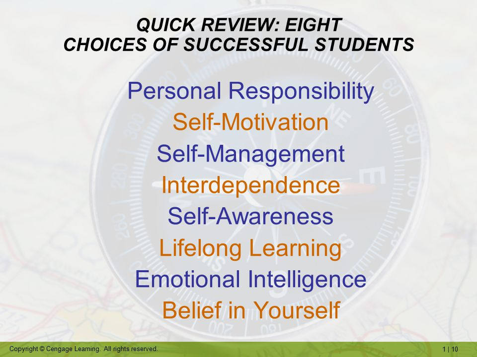 QUICK REVIEW: EIGHT CHOICES OF SUCCESSFUL STUDENTS