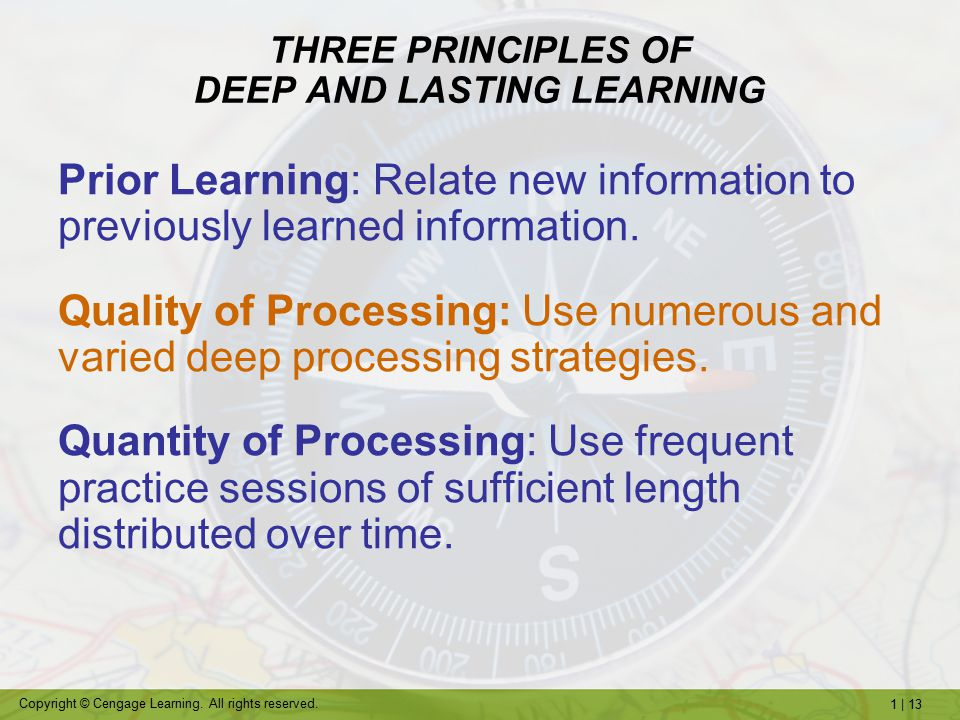 THREE PRINCIPLES OF DEEP AND LASTING LEARNING