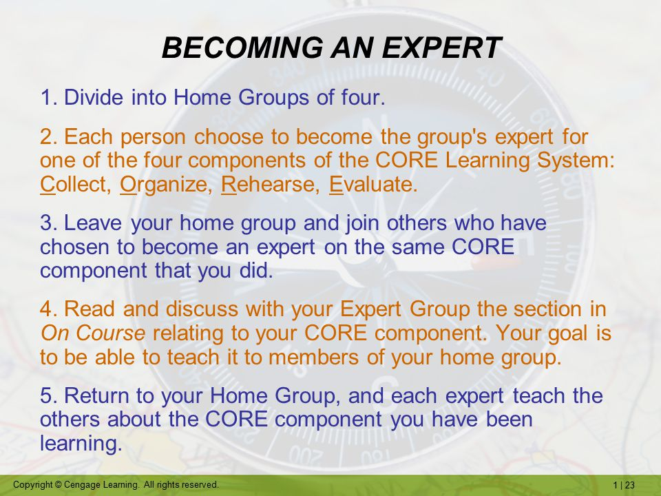 BECOMING AN EXPERT 1. Divide into Home Groups of four.