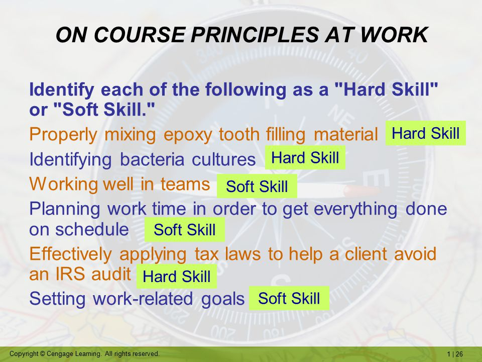 ON COURSE PRINCIPLES AT WORK