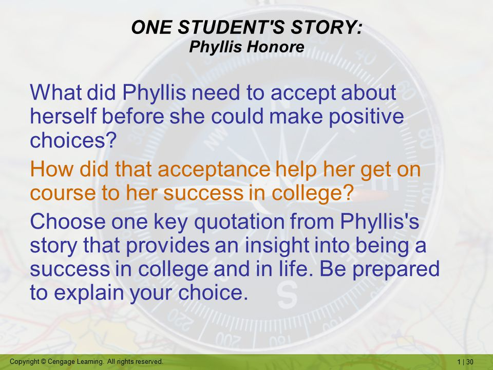 ONE STUDENT S STORY: Phyllis Honore