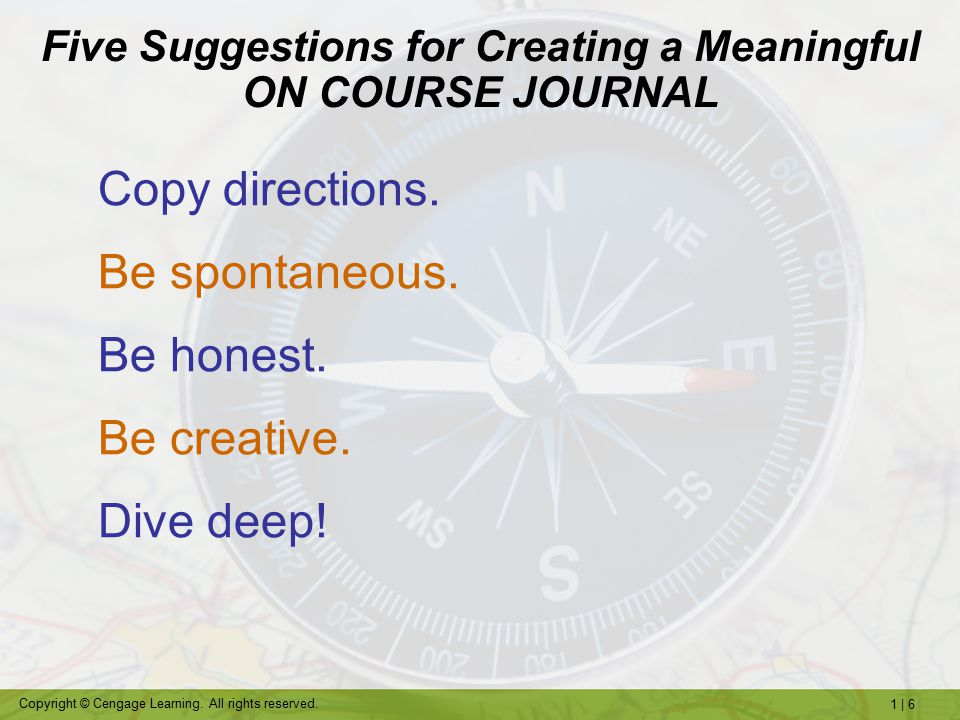 Five Suggestions for Creating a Meaningful ON COURSE JOURNAL